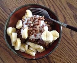 Chocolate-turmeric tea cake with goat yogurt, bananas, and pecans - a healthy, lightly sweet dessert!  Or breakfast!